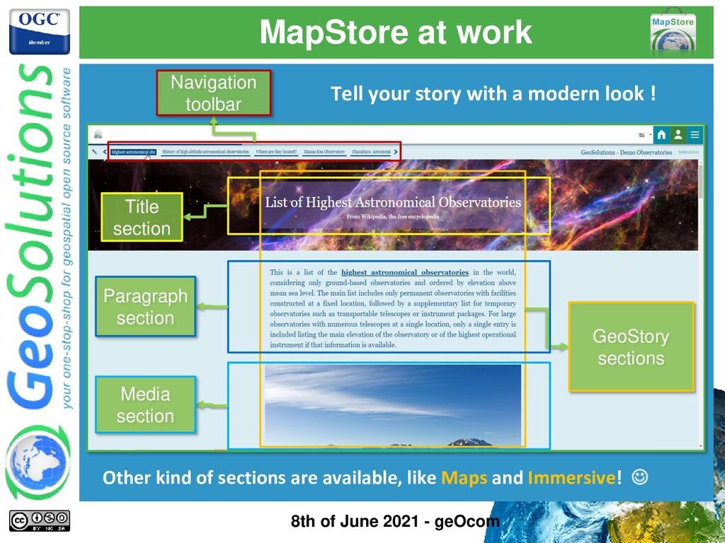 MapStore at work Navigation toolbar GeoStory se...