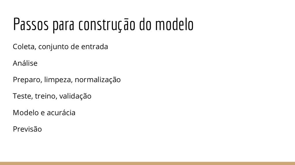Passos para construção do modelo Coleta, conjun...
