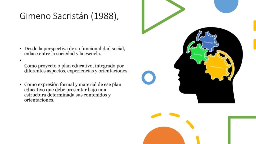 Gimeno Sacristán (1988), • Desde la perspectiva...