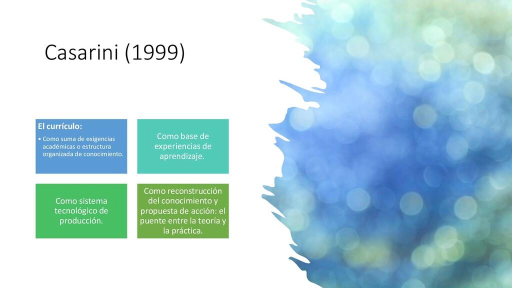Casarini (1999) El currículo: • Como suma de ex...