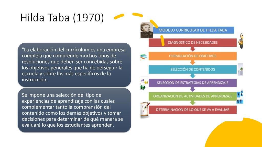 """Hilda Taba (1970) """"La elaboración del currículu..."""
