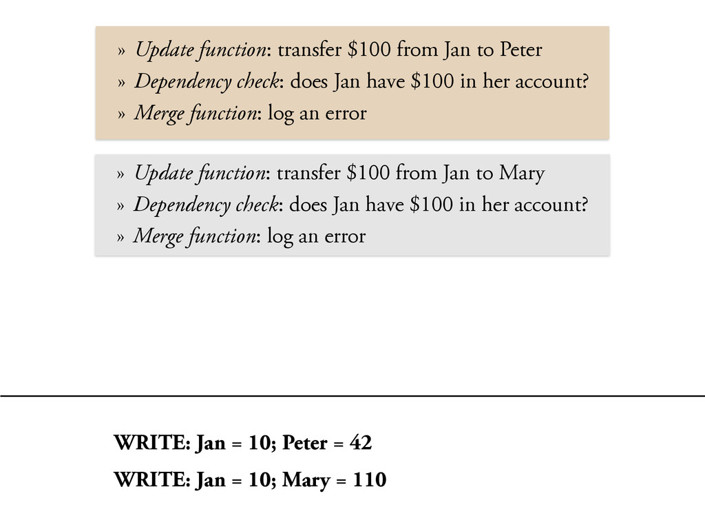 » Update function: transfer $100 from Jan to Pe...