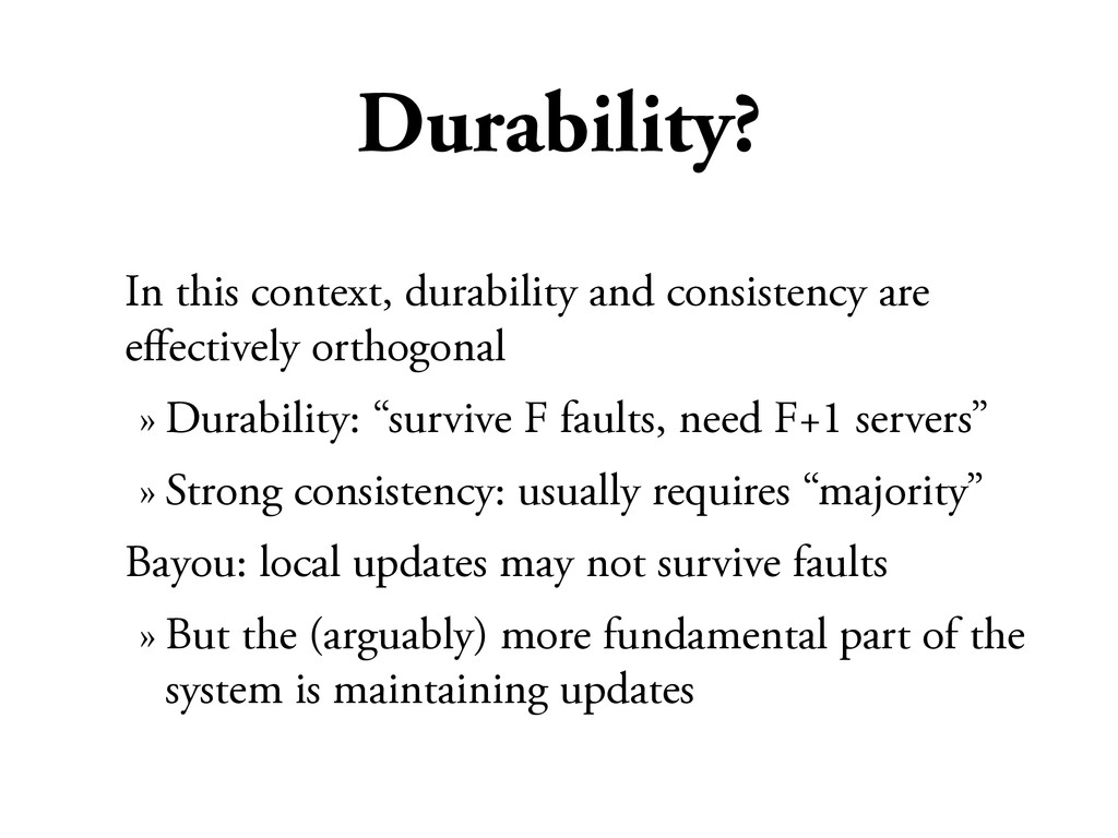 Durability? In this context, durability and con...