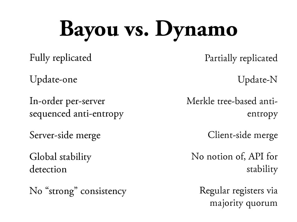 Bayou vs. Dynamo Fully replicated Update-one In...