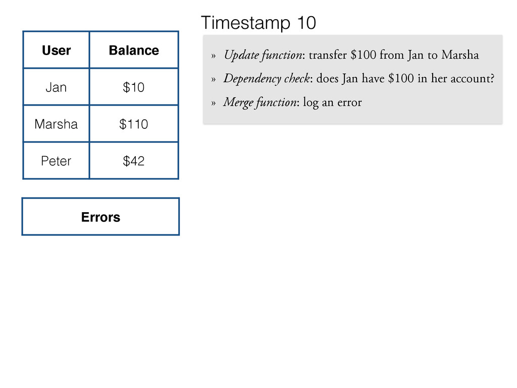 » Update function: transfer $100 from Jan to Ma...