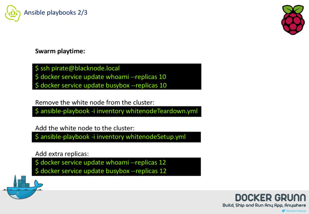 Ansible playbooks 2/3 Swarm playtime: $ ssh pir...