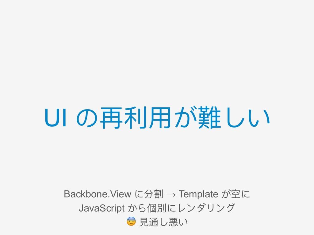 UI の再利利⽤用が難しい Backbone.View に分割 → Template が空に ...