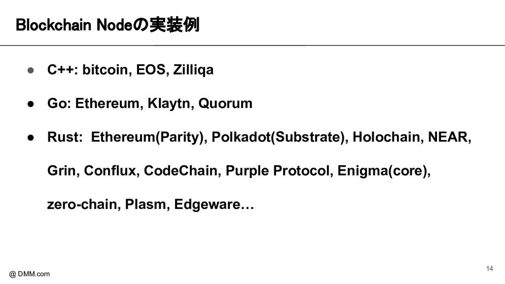 Blockchain Nodeの実装例 @ DMM.com ● C++: bitcoin, ...