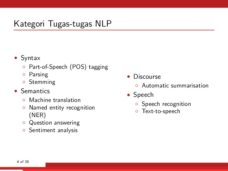 Kategori Tugas-tugas NLP • Syntax ◦ Part-of-Spe...