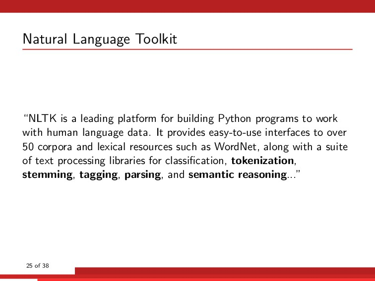 "Natural Language Toolkit ""NLTK is a leading pla..."