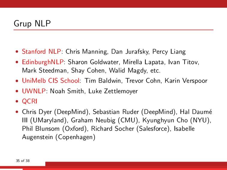 Grup NLP • Stanford NLP: Chris Manning, Dan Jur...
