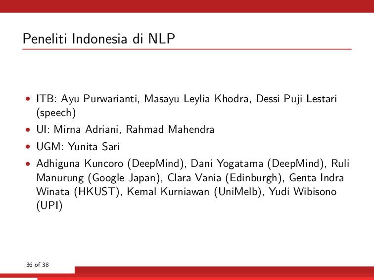 Peneliti Indonesia di NLP • ITB: Ayu Purwariant...