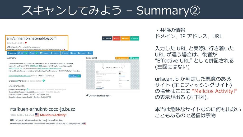 スキャンしてみよう – Summary② ・共通の情報 ドメイン、IP アドレス、URL 入力...