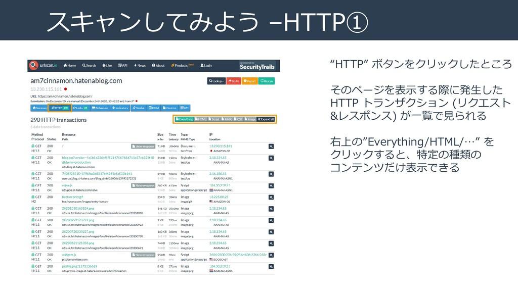 """スキャンしてみよう –HTTP① """"HTTP"""" ボタンをクリックしたところ そのページを表示す..."""
