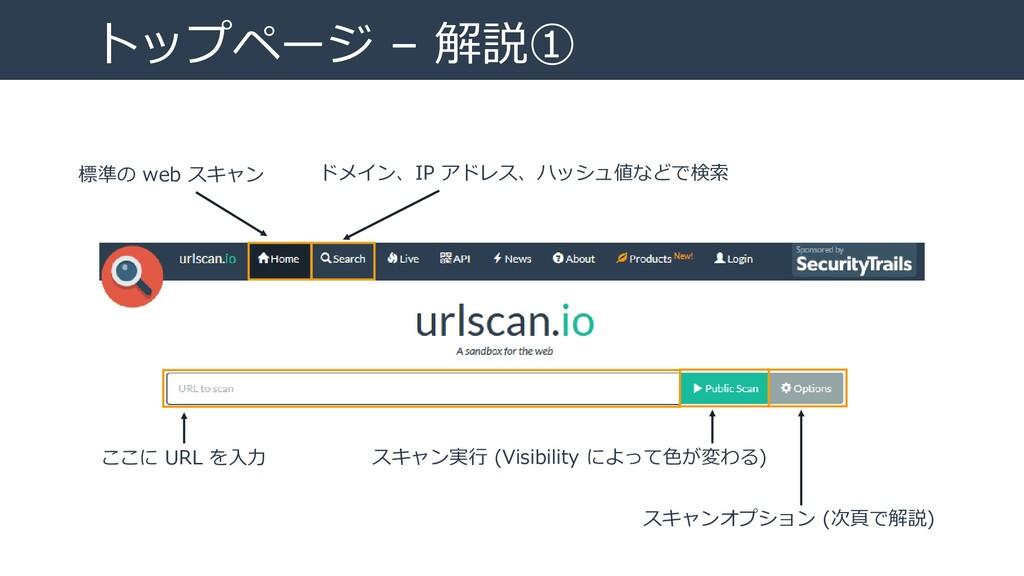 トップページ – 解説① 標準の web スキャン ドメイン、IP アドレス、ハッシュ値などで...
