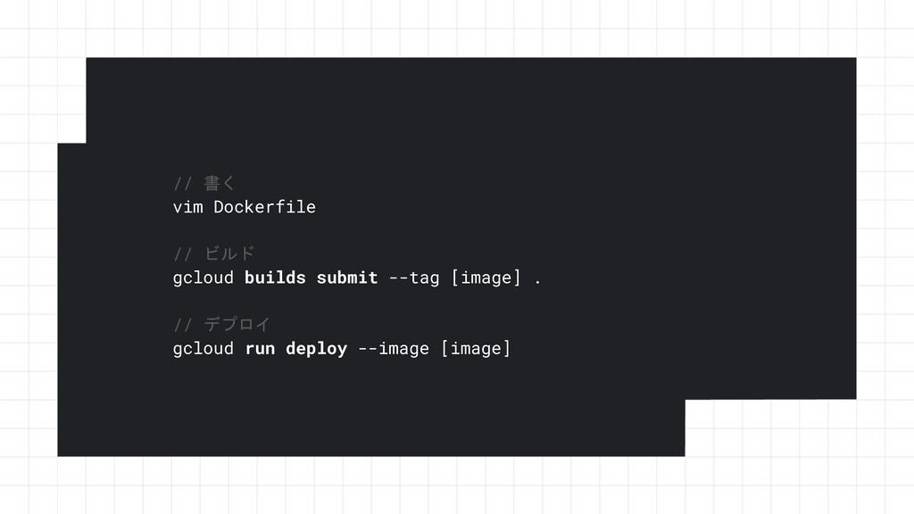 // 書く vim Dockerfile // ビルド gcloud builds submi...