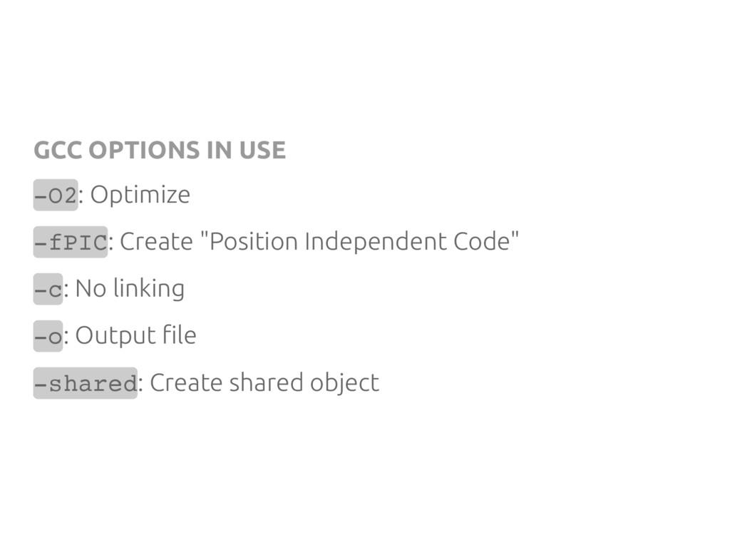 GCC OPTIONS IN USE - O 2 : Optimize - f P I C :...