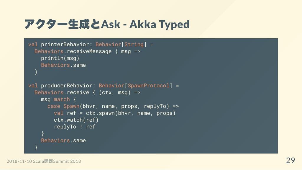 アクター生成とAsk - Akka Typed val printerBehavior: Be...