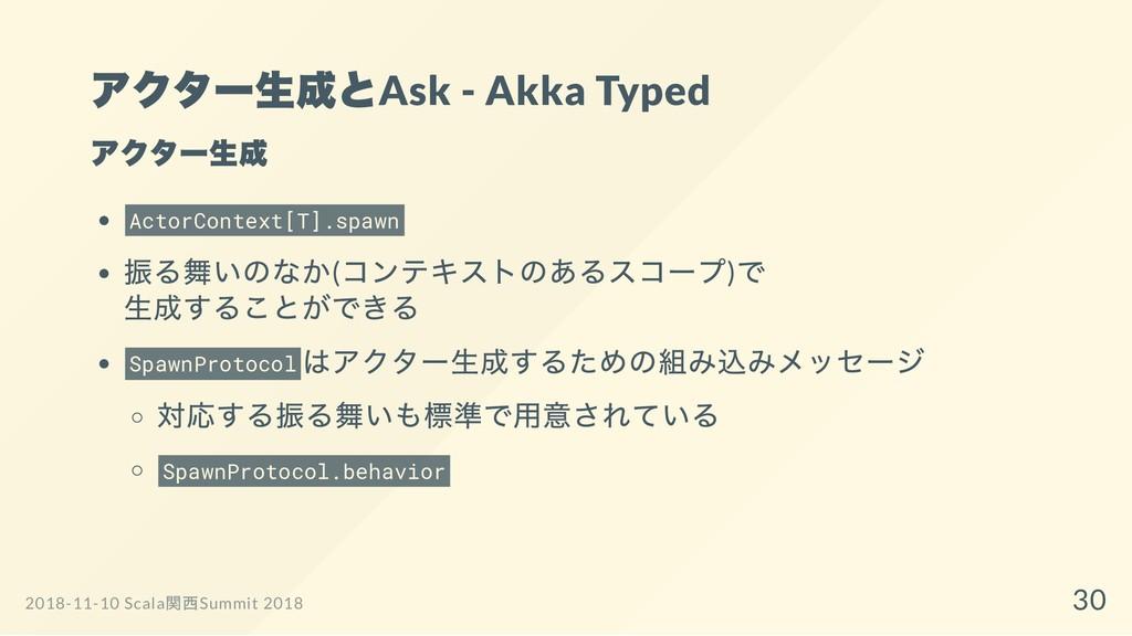 アクター生成とAsk - Akka Typed アクター生成 ActorContext[T]....