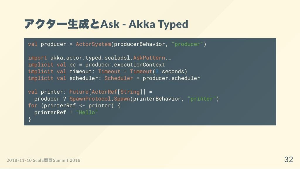 アクター生成とAsk - Akka Typed val producer = ActorSys...