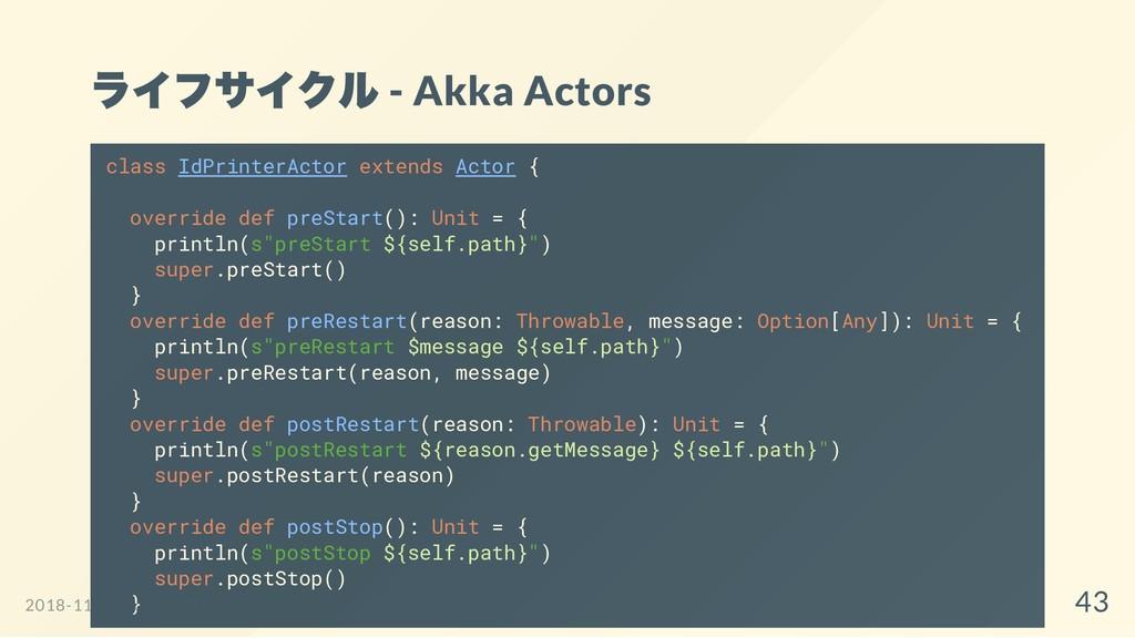 ライフサイクル - Akka Actors class IdPrinterActor exte...