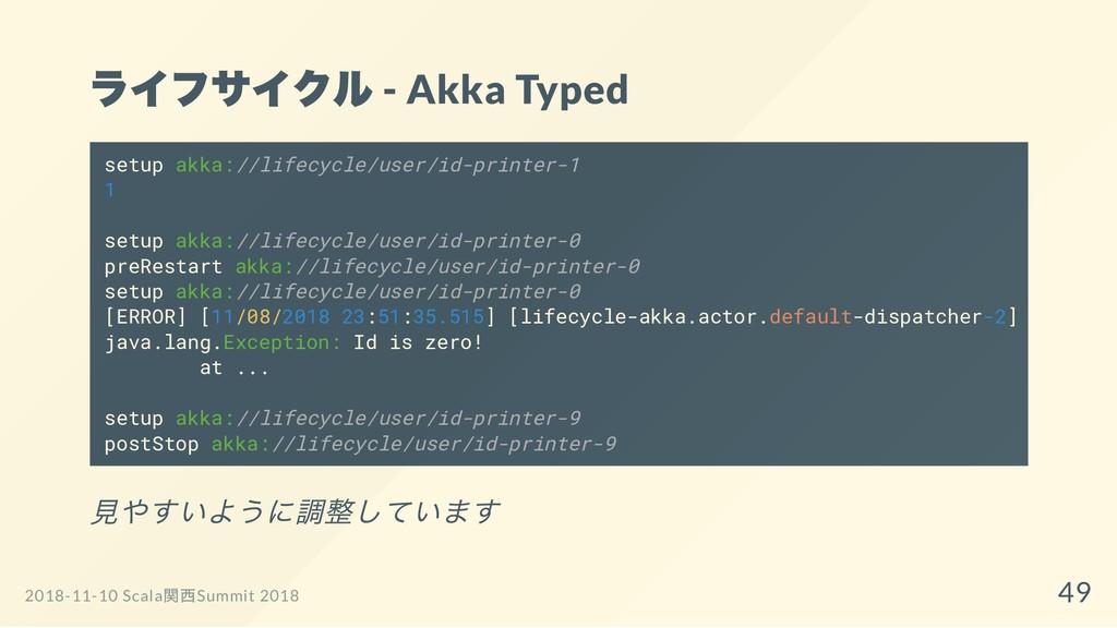 ライフサイクル - Akka Typed 見やすいように調整しています setup akka:...