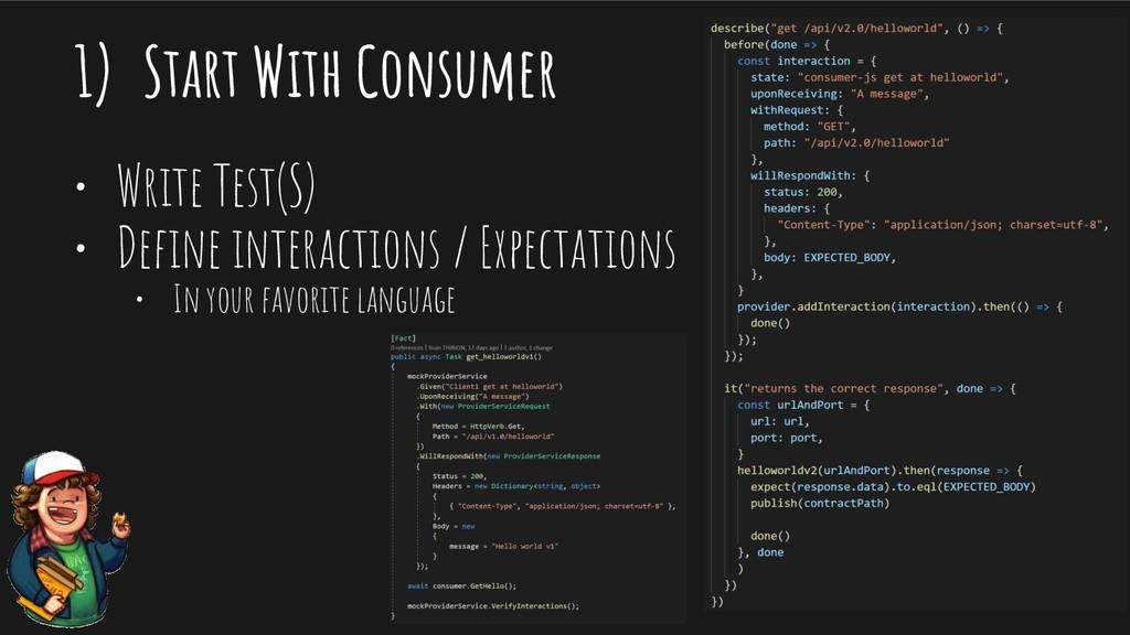 1) Start With Consumer • Write Test(S) • Define ...