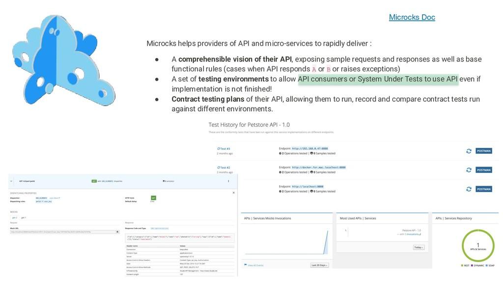 Microcks Doc Microcks helps providers of API an...