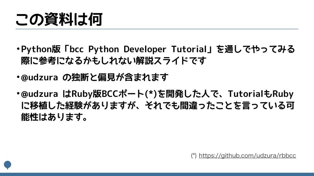 この資料は何 •Python版「bcc Python Developer Tutorial」を...