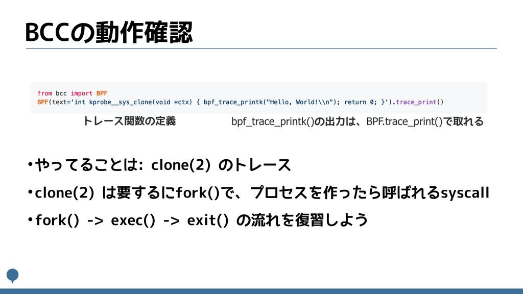 BCCの動作確認 •やってることは: clone(2) のトレース •clone(2) は要す...