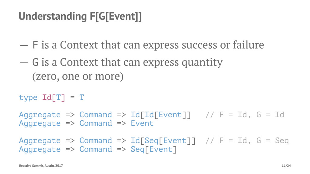 Understanding F[G[Event]] — F is a Context that...