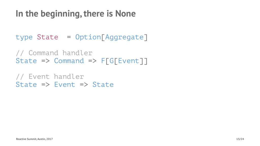 In the beginning, there is None type State = Op...