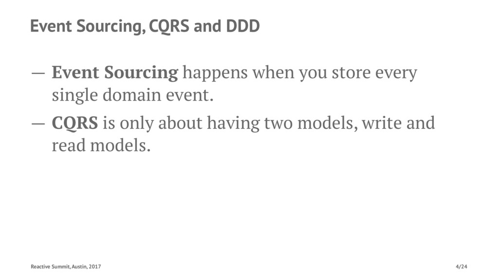 Event Sourcing, CQRS and DDD — Event Sourcing h...