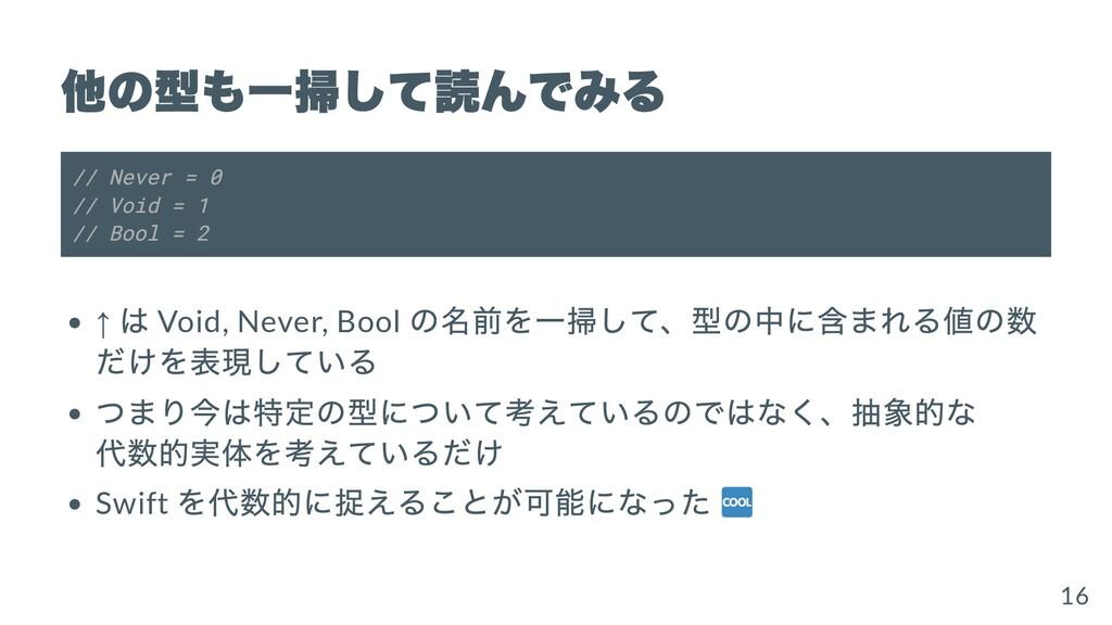 他の型も⼀掃して読んでみる // Never = 0 // Void = 1 // Bool ...