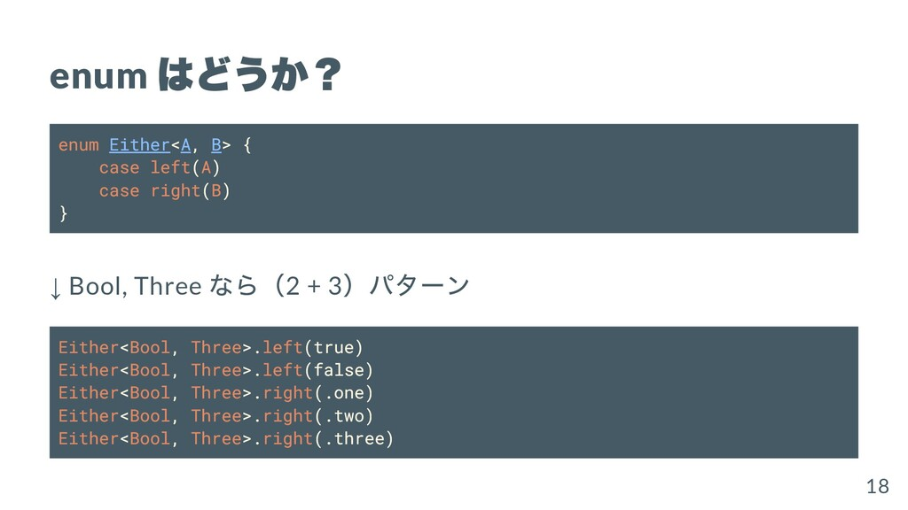 enum はどうか? enum Either<A, B> { case left(A) cas...