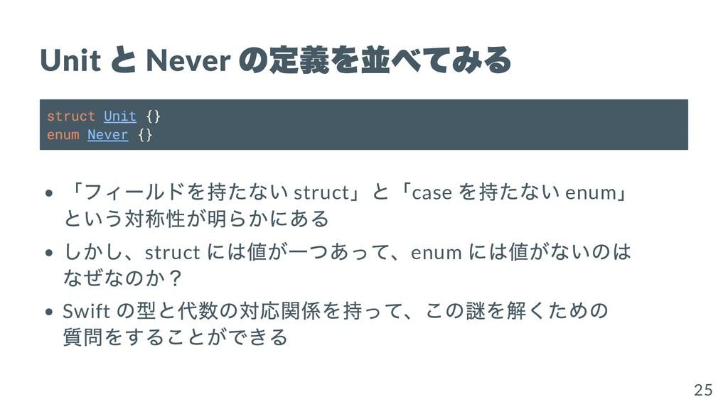 Unit と Never の定義を並べてみる struct Unit {} enum Neve...