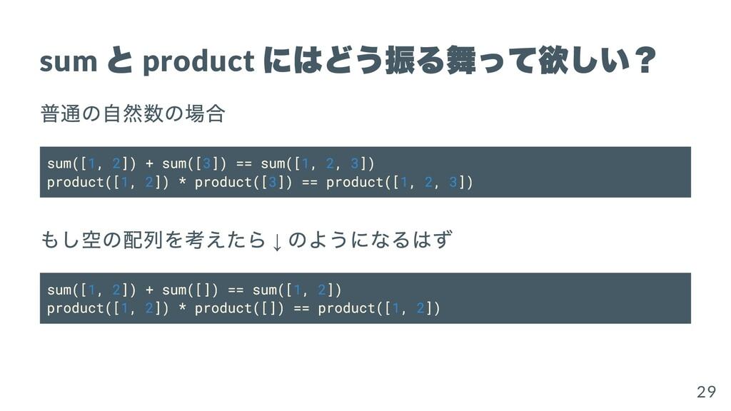 sum と product にはどう振る舞って欲しい? 普通の⾃然数の場合 sum([1, 2...