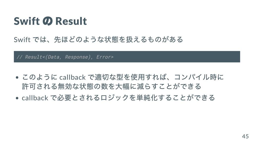Swift の Result Swift では、先ほどのような状態を扱えるものがある // R...