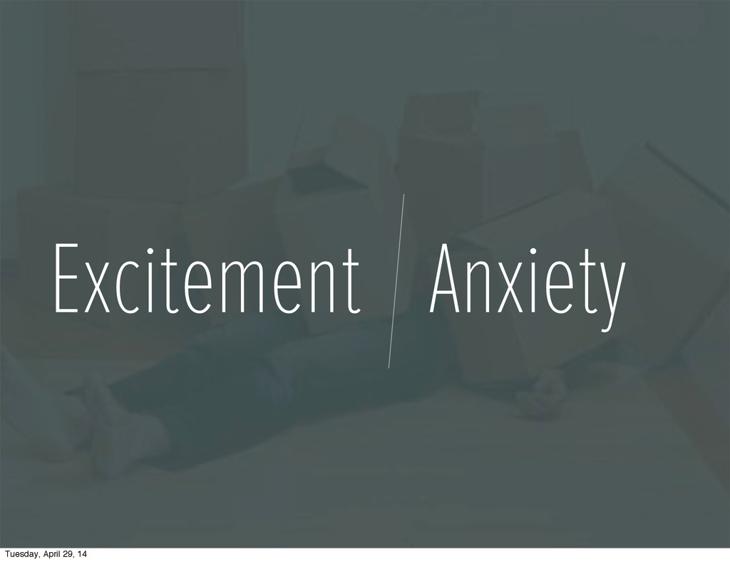 Excitement Anxiety Tuesday, April 29, 14