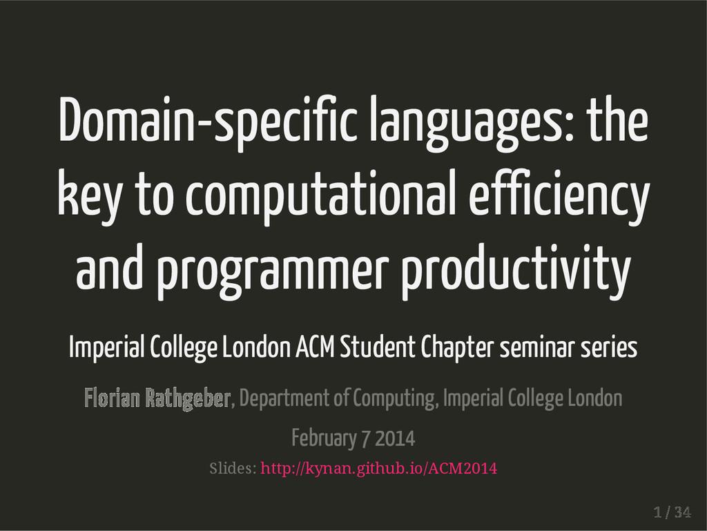 Domain-specific languages: the key to computati...