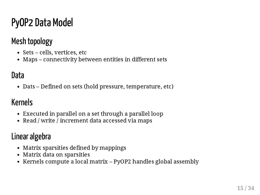 PyOP2 Data Model Mesh topology Sets – cells, ve...
