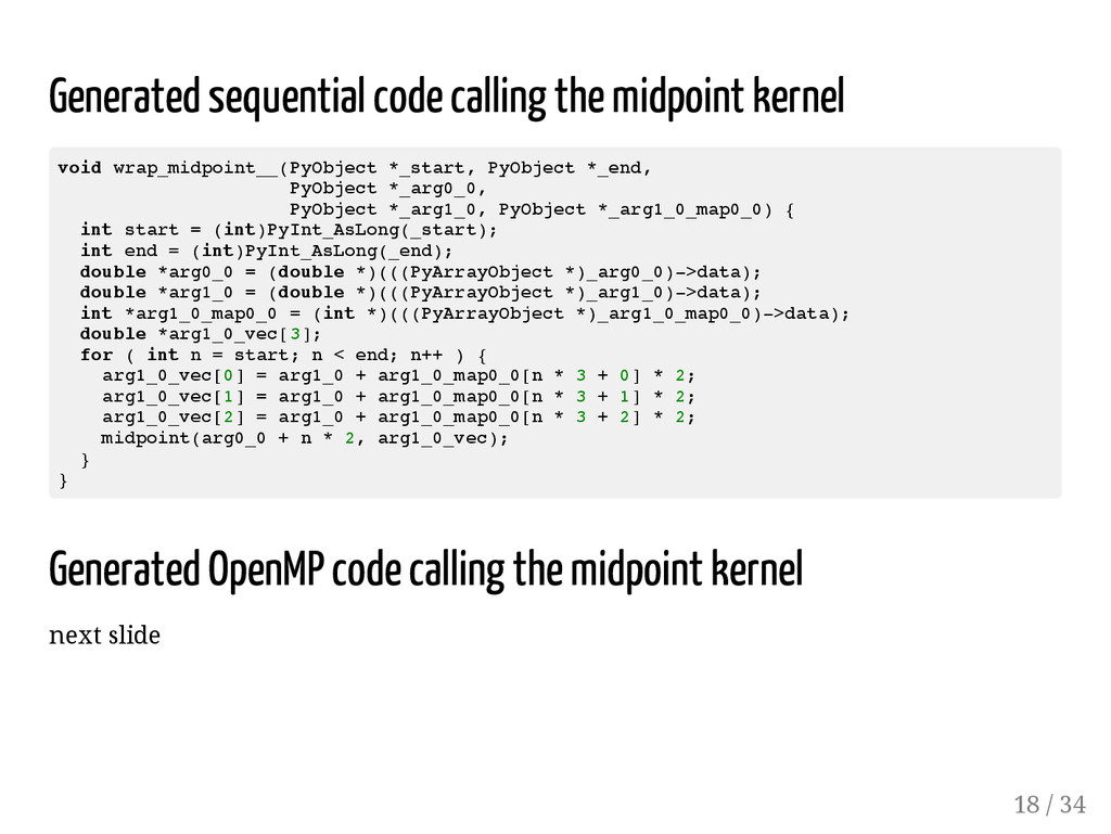 Generated sequential code calling the midpoint ...