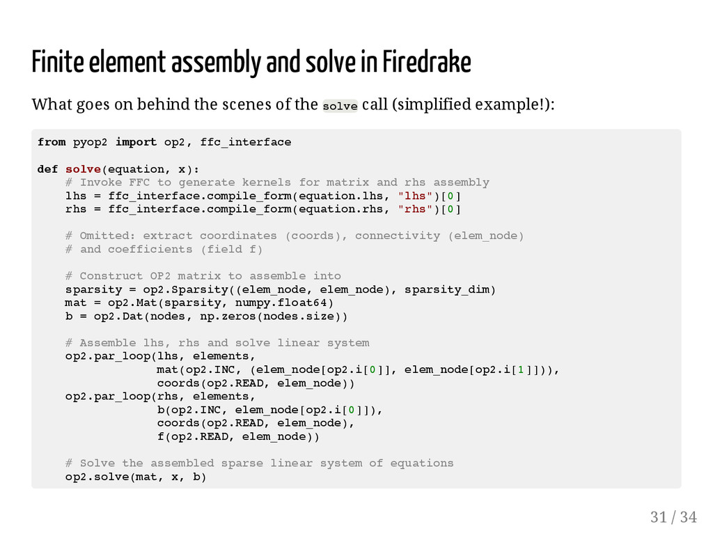 Finite element assembly and solve in Firedrake ...