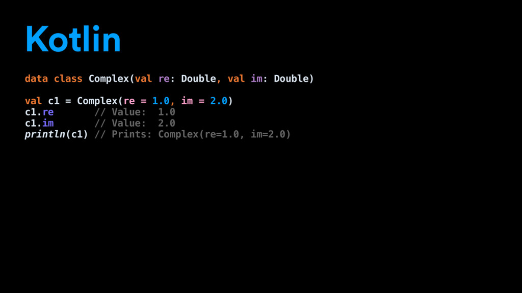 Kotlin data class Complex(val re: Double, val i...