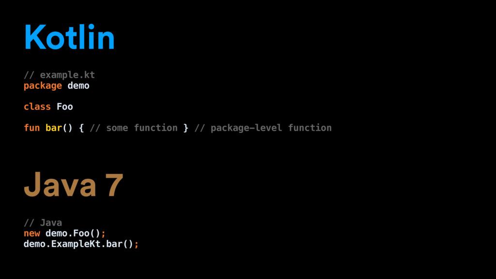 Kotlin // example.kt package demo class Foo fun...