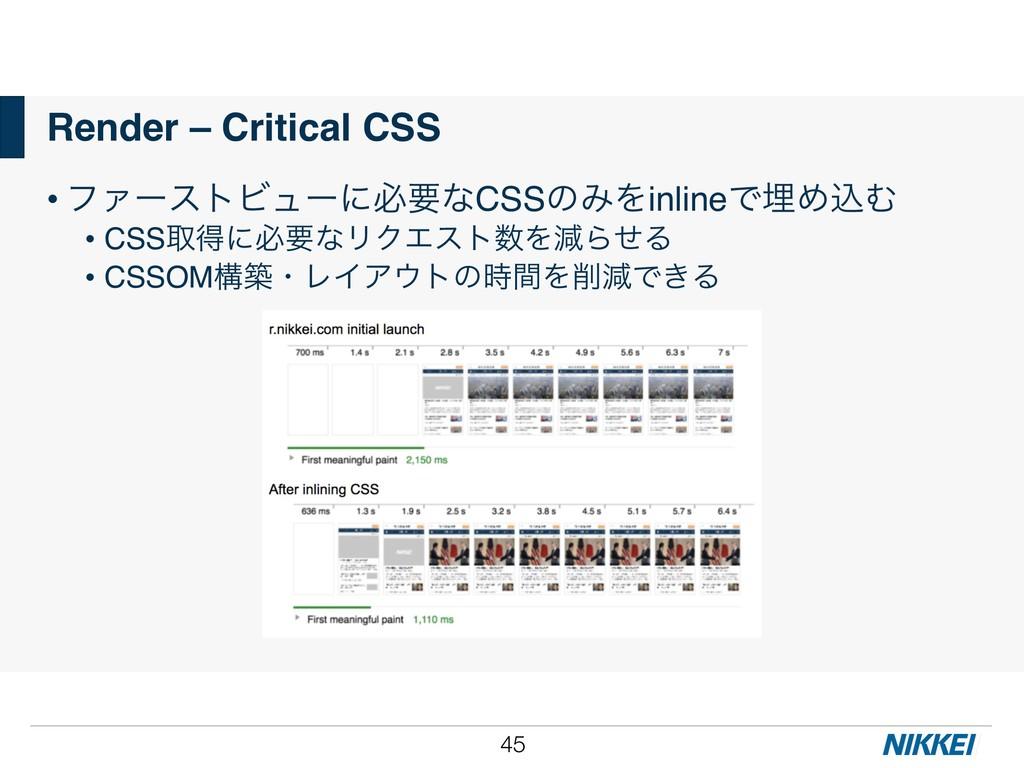 !45 Render – Critical CSS • ϑΝʔετϏϡʔʹඞཁͳCSSͷΈΛi...