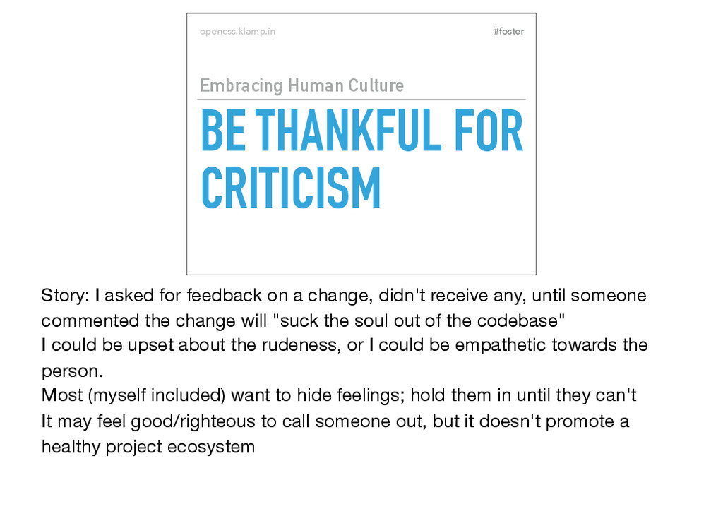 #foster opencss.klamp.in BE THANKFUL FOR CRITIC...