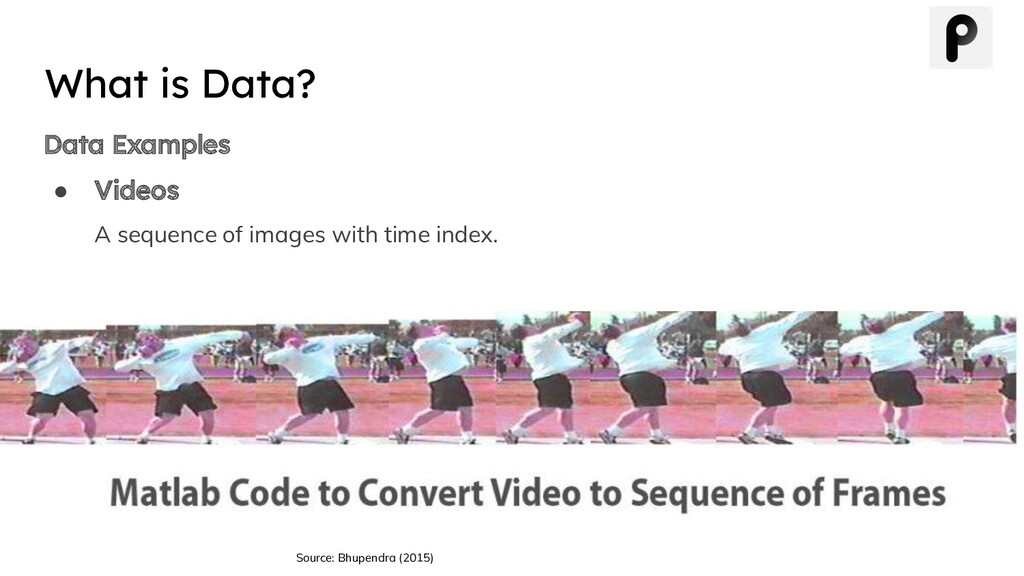 Data Examples ● Videos A sequence of images wit...