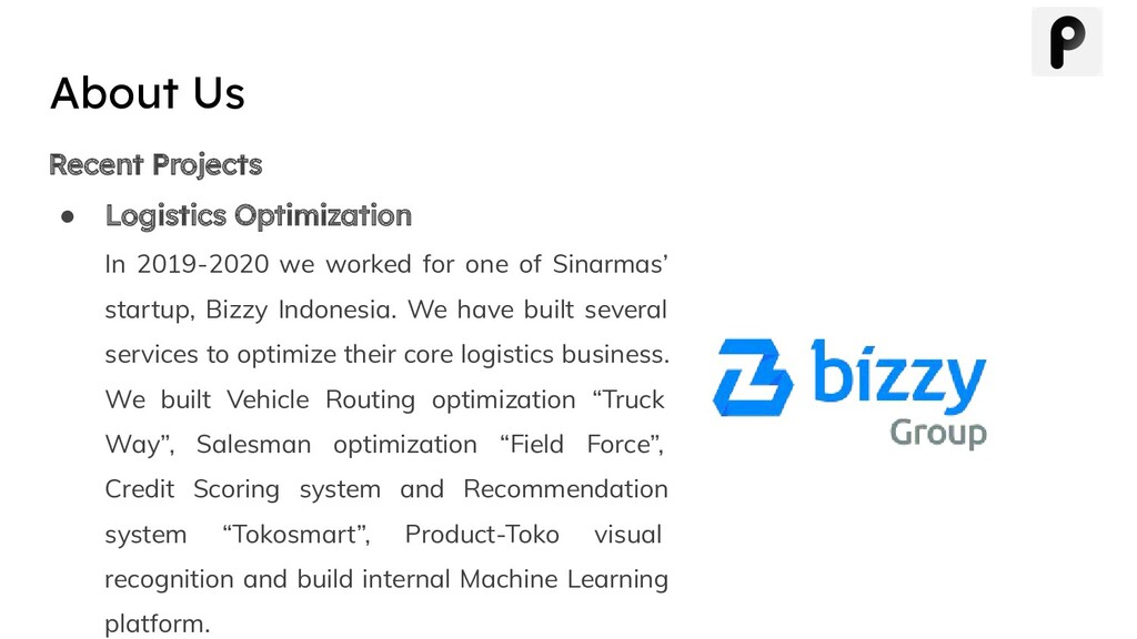 Recent Projects ● Logistics Optimization In 201...