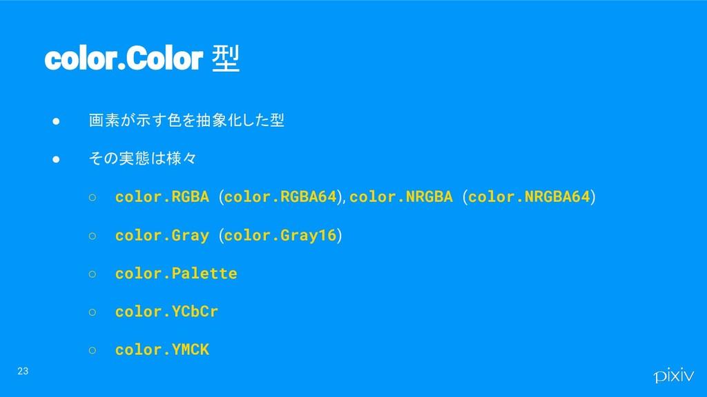 ● 画素が示す色を抽象化した型 ● その実態は様々 ○ color.RGBA (color.R...